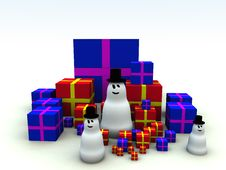 Free Snowman And Christmas Presents 7 Stock Images - 1492674