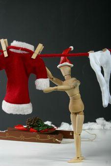 Santa Hanging Laundry Royalty Free Stock Images