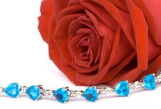 Free Red Rose And Blue Jewel 2 Royalty Free Stock Images - 1494329