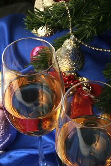 Glass Of White Wine On A Beautiful Christmas Background Royalty Free Stock Images