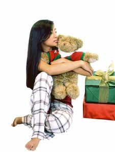 Free Girl With A Bear & Gifts Royalty Free Stock Image - 1496556