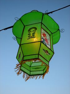 Free Cozy Light Of A Green Chinese Lantern Royalty Free Stock Image - 1498286