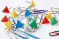 Free Paperclips With Colored Needles Royalty Free Stock Photography - 14907867