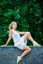 Free Young Woman Relaxing In Park Stock Image - 14907891