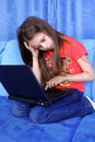 Free Girl With Laptop Stock Images - 14908044