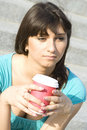 Free Female In A Park Drinking Coffee Stock Photography - 14908842