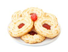 Jam And Coconut Biscuits Stock Photography