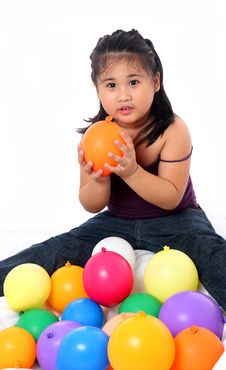Free Girl With Balloons Royalty Free Stock Photo - 14901275