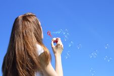 Free Girl Blowing Bubbles Royalty Free Stock Photo - 14901795