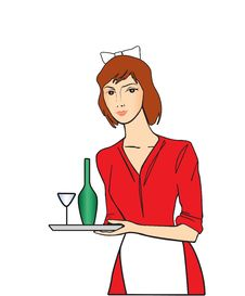 The Woman With Tray Stock Images