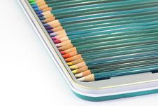 Free Colouring Pencils In Tin Box Stock Photography - 14901972