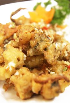 Crispy Soft Shell Crab On White Plate Stock Photos
