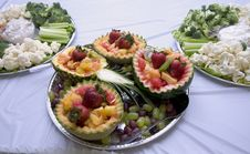 Fruit And Vegetable Trays Stock Images