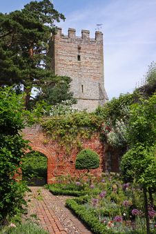 Free An English Walled Garden And Church Tower Royalty Free Stock Photo - 14905405