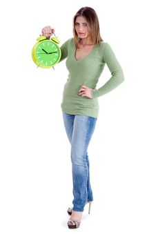 Free Attractive Young Model  Holding The Clock Stock Photo - 14905410