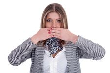 Free Women Covering Her Mouth With Both Hands Stock Image - 14905421
