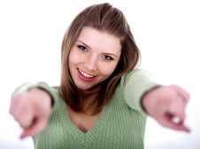 Free Smiling Young Female Pointing Stock Images - 14905434