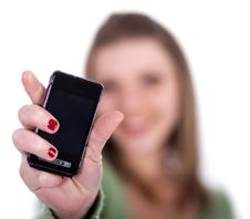Free Female Showing Her Cell Phone Royalty Free Stock Images - 14905439