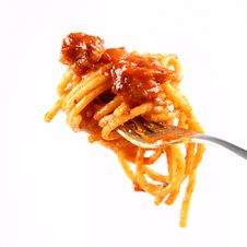 Free Spaghetti Bolognese On A Fork Royalty Free Stock Image - 14905646