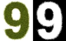 Number 9 Of The Grass With Alpha Channel Royalty Free Stock Image