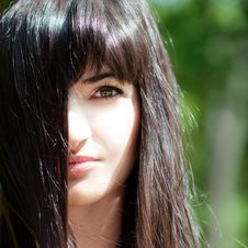 Free Young Beautiful Girl With Long Black Hair Stock Photos - 14906863