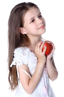 Free Girl With Red Apple Stock Photo - 14907890