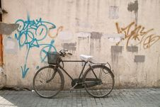 Free Old Bicycle Parking Beside Wall Stock Photo - 14908290