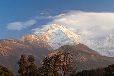 Sunset Over The Annapurna Royalty Free Stock Photo