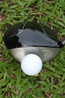 Golf Driver And Ball Viewed From Top Stock Photography
