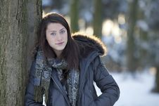 Free Teenage Girl In Winter Woods Stock Images - 14909434
