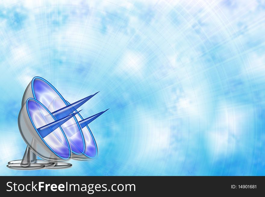 Blue sky background with antennas