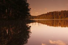 Romantic Sunset At Czech Canada Pond Royalty Free Stock Image
