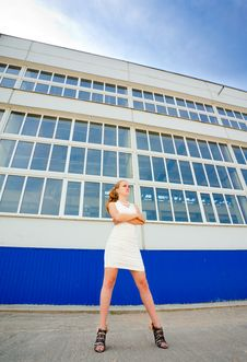 Free Girl Posing Over Old Factory Royalty Free Stock Photography - 14911387