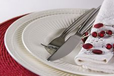Free Modern Red Festive Table Place Setting, Close Up Royalty Free Stock Photography - 14911547