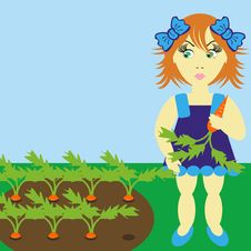 Girl With Carrot Stock Images