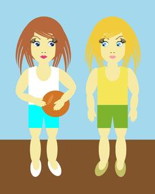 Free Two Girls With Ball Royalty Free Stock Image - 14912186