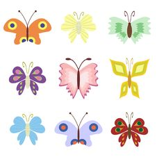 Free Set With Butterflies Royalty Free Stock Image - 14912196