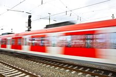 Free Train Leaves The Station With Speed Royalty Free Stock Image - 14912836