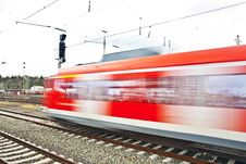 Free Train Leaves The Station With Speed Royalty Free Stock Photos - 14912848