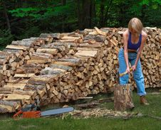 Free Girl Splitting Firewood Stock Image - 14914131