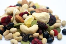 Mixed Nuts And Fruits Stock Photography