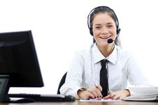Business Woman With Headset Stock Image