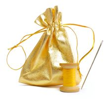 Needle And Thread With Bag Stock Photo