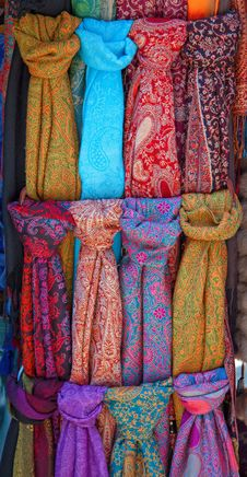 Multi-coloured Scarfs Stock Photo