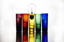 Free Colorful Glasses And Bulb Royalty Free Stock Images - 14916119