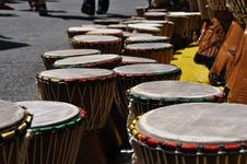 Free Street Vendor Of African Djembe Drums Royalty Free Stock Image - 14916376