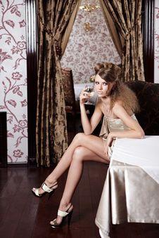 Free The Beautiful Girl At Restaurant Stock Photos - 14918273