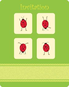 Card With Four Ladybugs Stock Photography