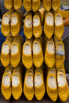 Traditional Dutch Wooden Shoes For Sale Stock Image