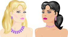 Makeup And Jewelry For Brunettes And Blondes Royalty Free Stock Images